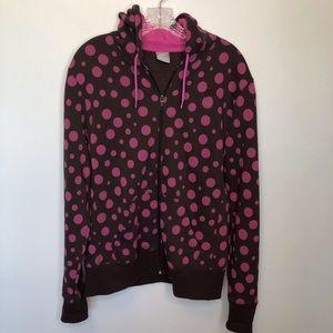 Nike Zip Hoodie Brown With Pink Polka Dots Size XL